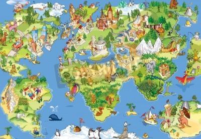 Fototapeta Zabawne spojrzenie na nasz świat. Możesz wydrukować tę mapę na ścianie :)