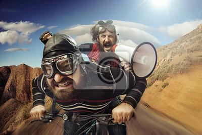 Fototapeta Zabawny portret tandemie rowerzystów