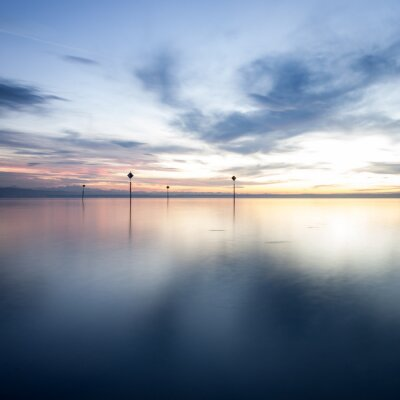 Fototapeta zachód słońca nad Jeziorem Bodeńskim