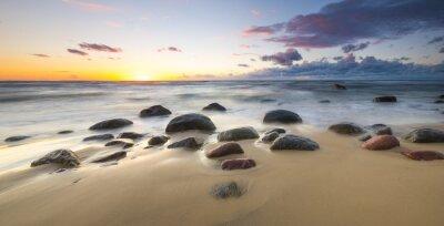 Fototapeta zachód słońca nad morzem plaży