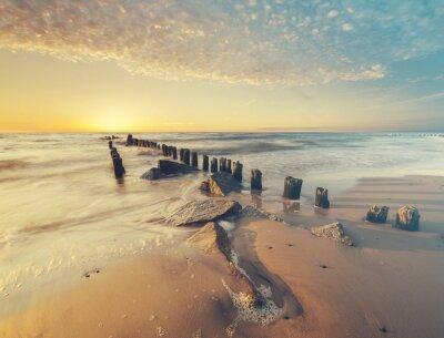 Fototapeta Zachód słońca nad morzem, retro, vintage