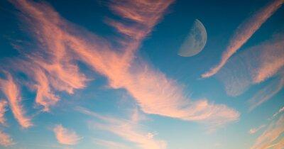 Fototapeta Zachód słońca niebo z półksiężyca