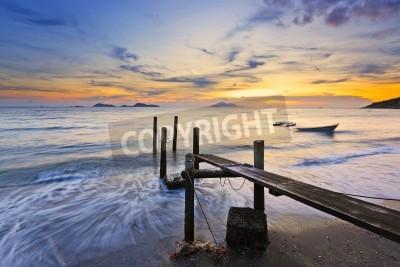 Fototapeta zachód słońca z molo