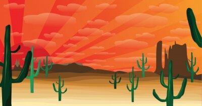 Fototapeta zachodniej pustyni o zachodzie słońca