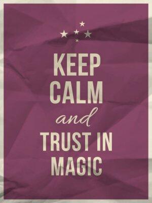 Fototapeta Zachowaj spokój zaufanie w magii cytatem na zmięty papier tekstury