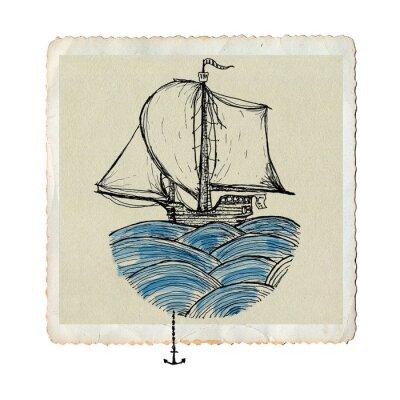 Fototapeta Żaglowiec na fale, akwarela farby artystycznej i rysunku na papierze, zabytkowe karty morza samodzielnie na białym tle, koncepcyjne ilustracji.
