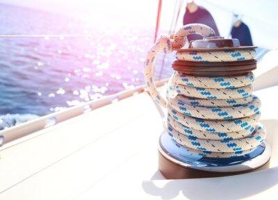 Fototapeta Żaglówka Winch i liny Yacht szczegółów