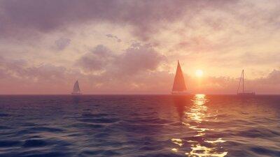 Fototapeta Żaglówki sylwetki o wschodzie słońca
