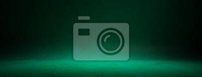 Fototapeta Zakrzywiona na zielono ściana i podłoga do prezentacji, baner
