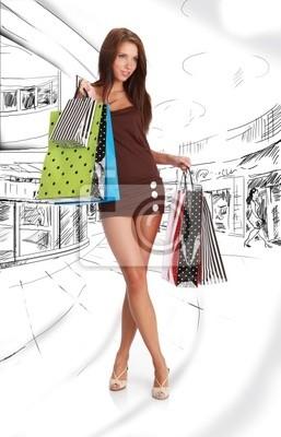 Fototapeta Zakupy dziewczyna na rysunku tła