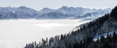Fototapeta Zalesiony stok górski i pasmo górskie w nisko położonej mgle doliny z sylwetkami wiecznie zielonych drzew iglastych spowitych mgłą. Sceniczny śnieżny zima krajobraz w Alps, Bavaria, Niemcy.