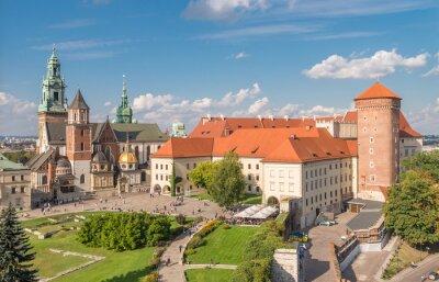 Fototapeta Zamek Królewski na Wawelu i Katedra na Wawelu widziany z wieży Sandomierskiej na słoneczne popołudnie