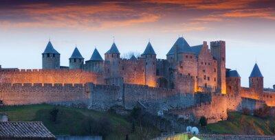 Fototapeta Zamek w czasie wieczoru. Carcassonne