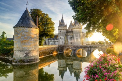 Fototapeta Zamek w Sully-sur-Loire w słońcu z obiektywu pochodni, we Francji. Zamek ten znajduje się w dolinie Loary, pochodzi z 14 wieku i jest doskonałym przykładem średniowiecznej twierdzy.