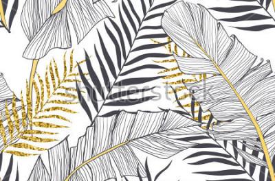 Fototapeta Zamknięty wzór z bananowymi i złotymi palmowymi liśćmi w wektorze