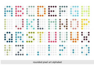 Fototapeta Zaokrąglone pixel art alfabet w pastelowych kolorach