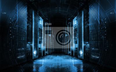 Fototapeta zaplecze technologiczne na serwerach w centrum danych, futurystyczny design. Serwerownia reprezentowana przez kilka serwerów z silnym, dramatycznym światłem.