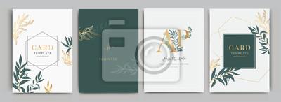 Fototapeta Zaproszenie na ślub, kwiatowy zaproszenie dziękuję, rsvp nowoczesna karta Projektowanie w kwiatach z zielenią liści oddziałów dekoracyjne Wektor elegancki szablon rustykalny