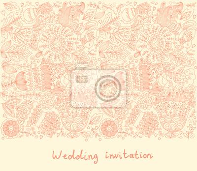 Zaproszenie na ślub. Wzór kwiatowy