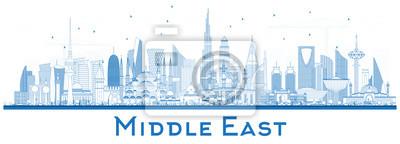 Fototapeta Zarys Bliskiego Wschodu panoramę miasta z Blue budynków na białym tle.