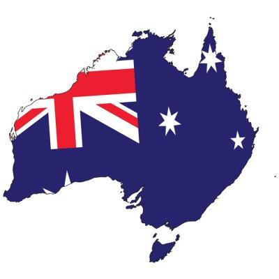 Fototapeta Zarys Kraj z flagą Australii