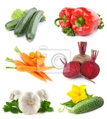 Fototapeta zbiór owoców i warzyw samodzielnie na białym tle