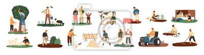 Fototapeta Zbiór rolników lub pracowników rolnych sadzących rośliny, zbierających plony, zbierających jabłka, karmiących zwierzęta hodowlane, noszących owoce, doju krowę, pracujących na ciągniku. Ilustracja kres