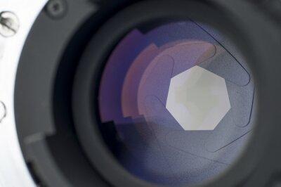 Fototapeta Zbliżenie migawki obiektyw z odbicia