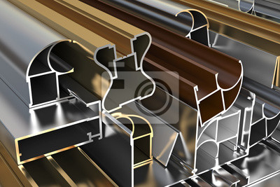 Fototapeta Zbliżenie profili aluminiowych. ilustracja przemysłowych