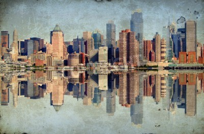 Fototapeta zdjęcie grunge new york city skyline nad Hudson River