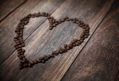Fototapeta Zdjęcie przedstawia serce pachnące z ziaren kawy