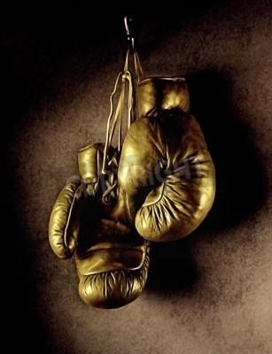 Fototapeta Zdjęcie rękawice bokserskie wiszące na ścianie