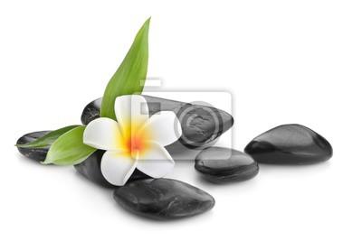 Zen kamienie bazaltowe, orchidea i bambus