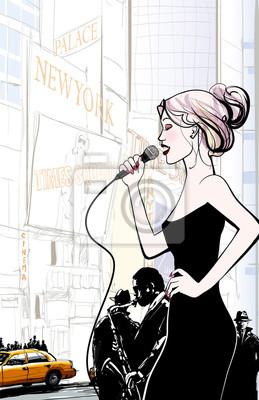 zespół jazzowy i piosenkarz gra w Nowym Jorku