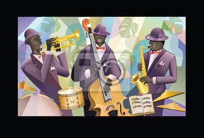 Zespół jazzowy na kolorowym tle