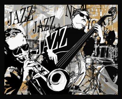 Zespół jazzowy na tle grunge
