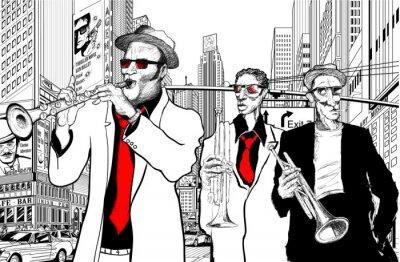 Fototapeta zespół jazzowy w ulicy Nowego Jorku