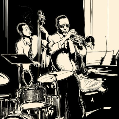 Zespół jazzowy z kontrabas fortepian i trąbkę bębna