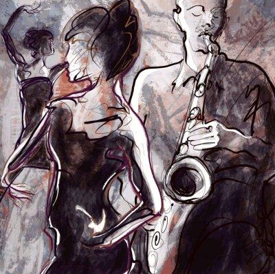 Fototapeta Zespół jazzowy z tancerzami