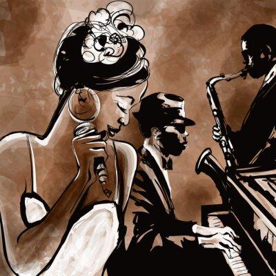 Zespół jazzowy z wokalistą, saksofon i fortepian - ilustracja