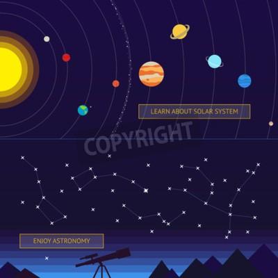 Fototapeta Zestaw banerów kosmicznych: model układu słonecznego i konstelacji na nocnym niebie
