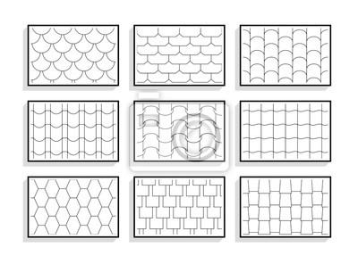 Fototapeta Zestaw bez szwu dachówek tekstury. Czarno-białe wzory graficzne materiałów architektonicznych