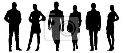 Fototapeta Zestaw biznesmenów wektora sylwetk ?, grupa m ?? czyzn i kobiet w sukienka formalne