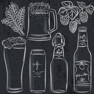 Fototapeta Zestaw butelki piwa na tablicy, wektor