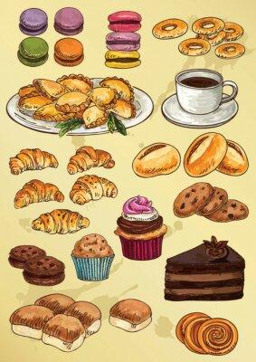Fototapeta zestaw ciast i ciasteczek rysunek odręczny