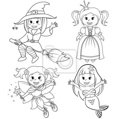 b7d760922595b3 Fototapeta Zestaw cute fairytale dziewcząt. Czarownica Halloween, syrena,  księżniczka i bajka. Czarno