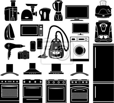 Zestaw czarny ikony urządzeń gospodarstwa domowego