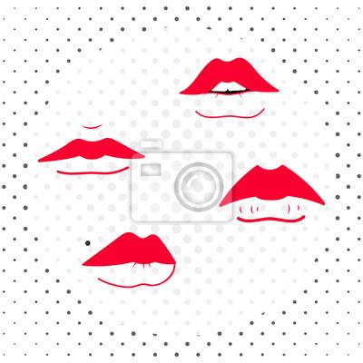 Zestaw czerwonych żeńskich ustach. Ilustracji wektorowych.