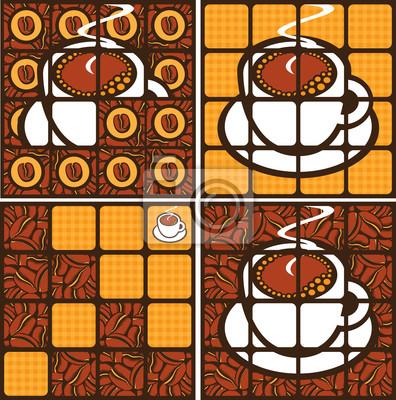 zestaw czterech banerów z filiżanką kawy i ziarna