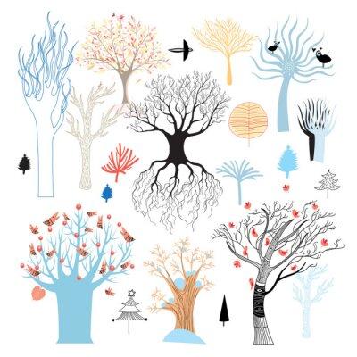 Fototapeta Zestaw drzew graficzny